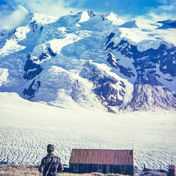 1959 tramping  with Multi Brun hut with Ranfurly Ice Fall view (LF trans) a.jpg