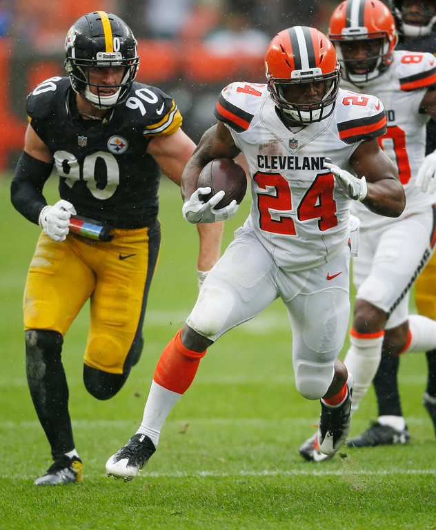 . Cleveland Browns running back Nick Chubb (24) rushes against the Pittsburgh Steelers during the second half of an NFL football game, Sunday, Sept. 9, 2018, in Cleveland. (AP Photo/Ron Schwane)