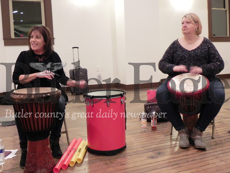 Annie Mathe, a retired dental hygienist, and Patricia Bauer, a retired music educator, are the drum circle facilitators for the Harmony Drum and Dance Circle. Photo by Gabriella Canales.