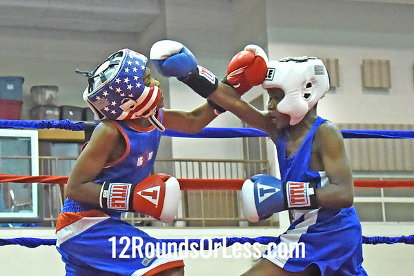 Bout 3 Dwayne Martin, Red Gloves, 10 yrs, 80 lbs, MI -vs- James Bethune, Blue Gloves, 9 yrs, 81 lbs, Akron