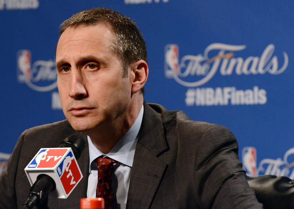 . Duncan Scott/DScott@News-Herald.com Cavaliers Head Coach David Blatt answers questions before NBA Finals Game 6 June 16 at Quicken Loans Arena.