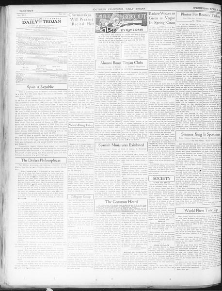 Daily Trojan, Vol. 22, No. 123, April 15, 1931