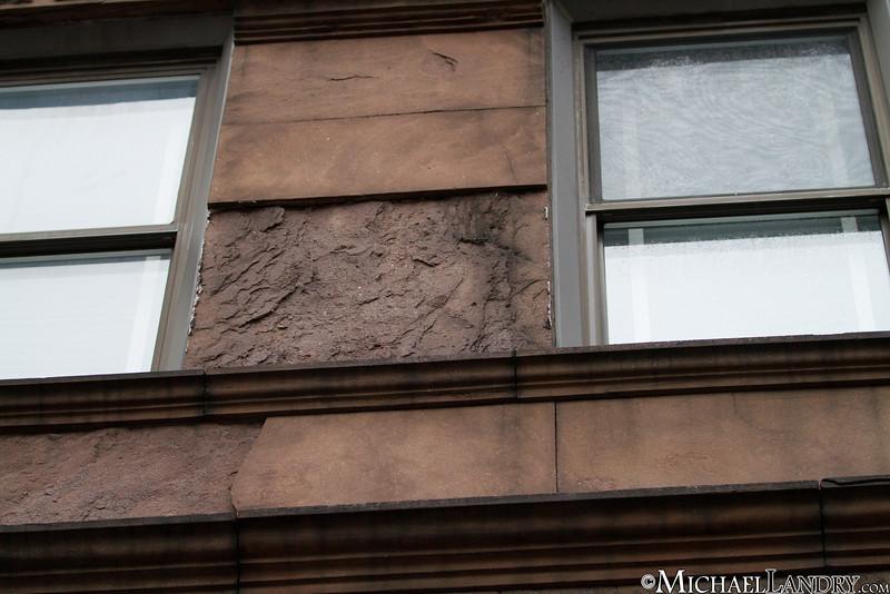 This brownstone slab fell off the second floor  Park Slope, Brooklyn Tornado 9/16/10 - (c) Michael Landry.com