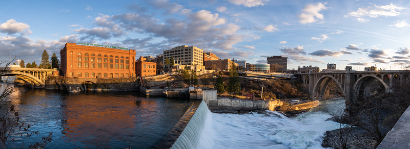 Spokane Falls Panorama Last Light