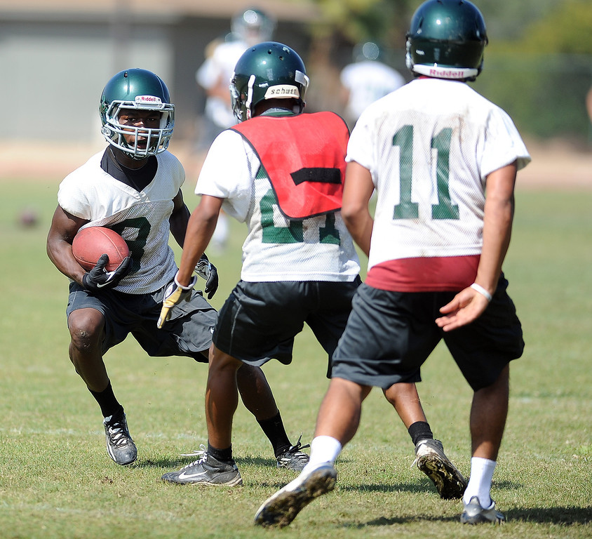 . WR/DB D\'Angelo Ross during morning practice at South Hills High School on Friday, Aug. 9, 2013 in West Covina, Calif.   (Keith Birmingham/Pasadena Star-News)