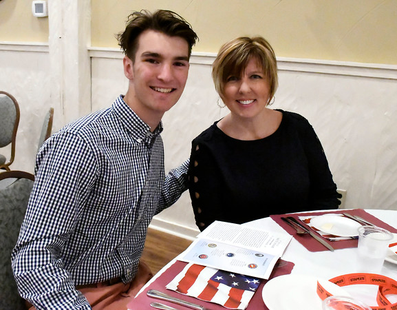 6/8/2018 Mike Orazzi | Staff Vincent Penisse and his mom Eva during the 8th Annual Salute Dinner held at Nuchie's in Forestville Friday evening. Vincent plans to join the navy.