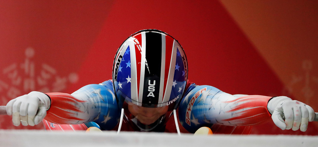 . Emily Sweeney of the United States prepares for the start of her second run during the women\'s luge competition at the 2018 Winter Olympics in Pyeongchang, South Korea, Monday, Feb. 12, 2018. (AP Photo/Andy Wong)