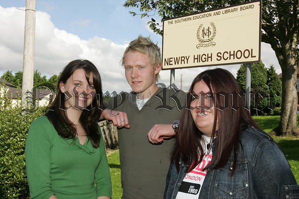 Pictured are Victoria Magiowan, Ivan Toombs and Grace Dillon pupils from Newry High School who were the top A-level pupils at teh school. 07W35N4