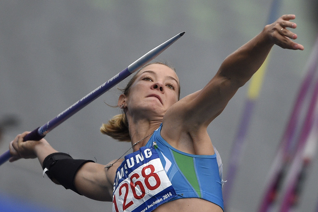 . Uzbekistan\'s Ekaterina Voronina competes in the women\'s heptathlon javelin throw athletics event during the 17th Asian Games at the Incheon Asiad Main Stadium in Incheon on September 29, 2014. MARTIN BUREAU/AFP/Getty Images