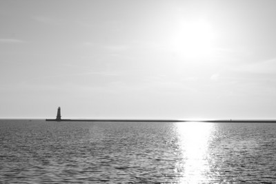 Ludington Sunset - B&W