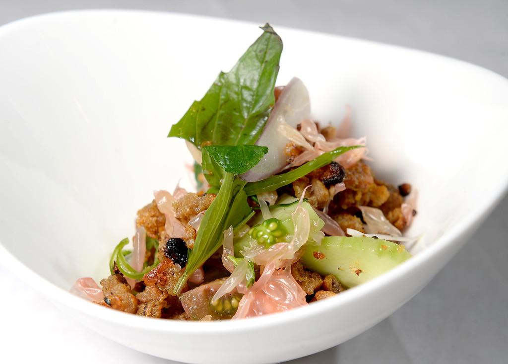 . Crispy Catfish Salad at Jax Fish House in  Boulder, Colorado January 23, 2015. Boulder Daily Camera/ Mark Leffingwell