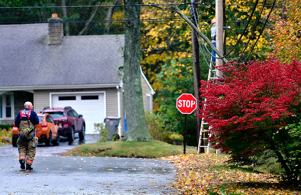 10/17/2019 Mike Orazzi | StaffrThe scene of a report of tree on a wire on power lines during a windy Thursday in Bristol.