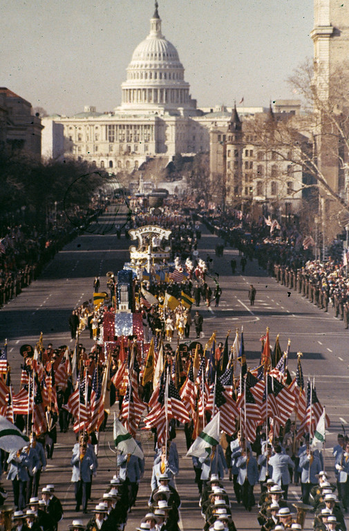. This is a general view of the Inaugural Parade proceeding down Washington\'s Pennsylvania Avenue with the Capitol building visible in the background, Jan. 20, 1977.  Jimmy Carter was sworn in as the 39th president of the United States during the inauguration ceremonies earlier.  (AP Photo)