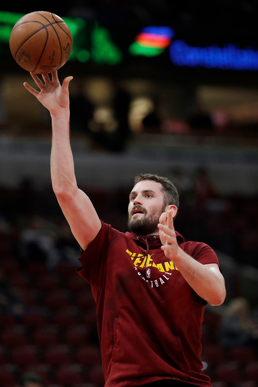. Cleveland Cavaliers forward/center Kevin Love warms up before an NBA basketball game against the Chicago Bulls, Saturday, March 17, 2018, in Chicago. (AP Photo/Nam Y. Huh)