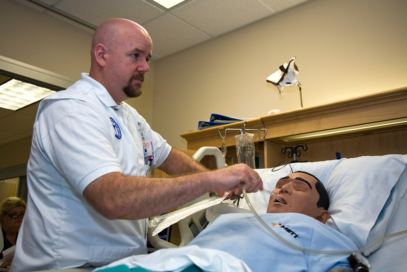 Sacramento City College Extended Campus nursing student Jeremy Sullivan participates in a CVA simulation exercise in the SCC/EX sim lab.