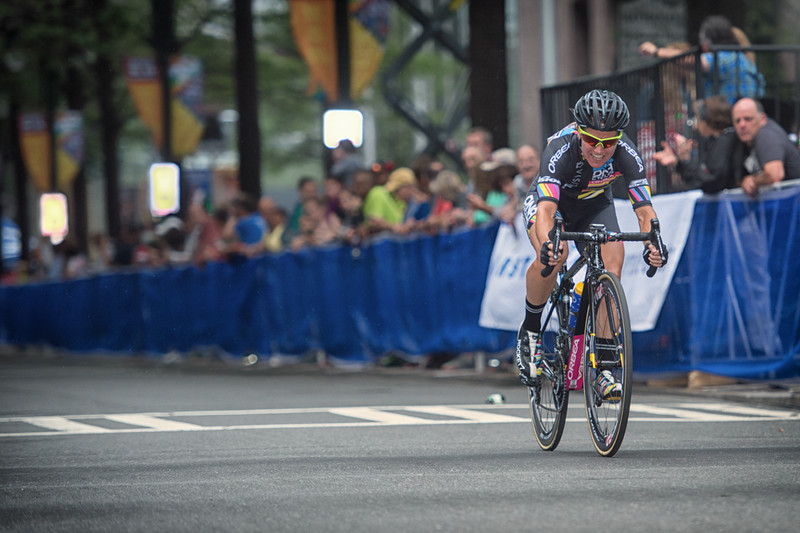 Agressor Sara Tussey of Visit Dallas DNA Pro Cycling off the front of the 2016 Charlotte Criterium presented by Novant Health.  Photo by Weldon Weaver.