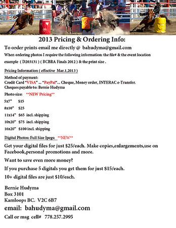 Price List & Ordering Info 2013