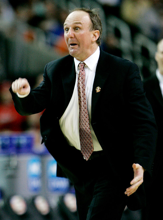 . Ohio State coach Thad Matta gestures during the first half in the men\'s championship basketball game at the Final Four in the Georgia Dome in Atlanta Monday, April 2, 2007. (AP Photo/Gerry Broome)