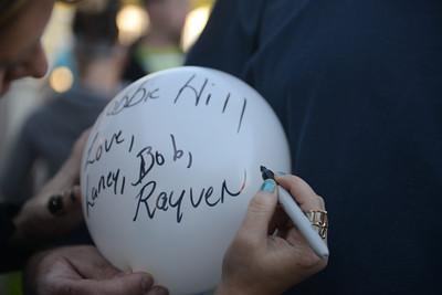 Balloons in memory of Robert Hill