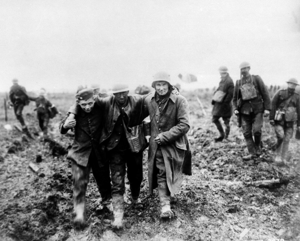 . German\'s bringing in Canadian wounded at battle of Vimy, France in 1917. (AP Photo)