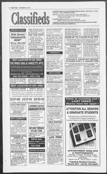 Daily Trojan, Vol. 123, No. 60, November 30, 1994