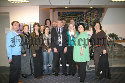 The Mayor stands with key organisers of the welcome night and a represenative of the five visting countries.07W12N405