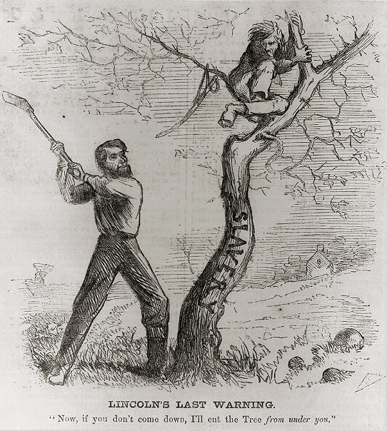 . Lincoln\'s Last Warning - Pres. Lincoln about to cut down tree (slavery) - warning a man to come down from the tree. 1862.  Library of Congress