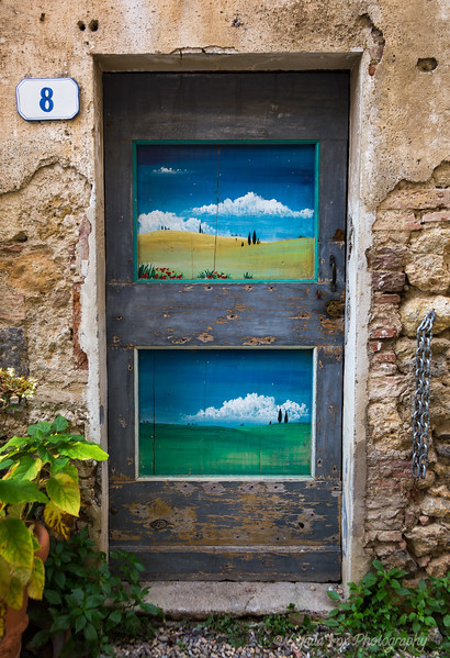 Painted Door with Tuscany  Landscapes