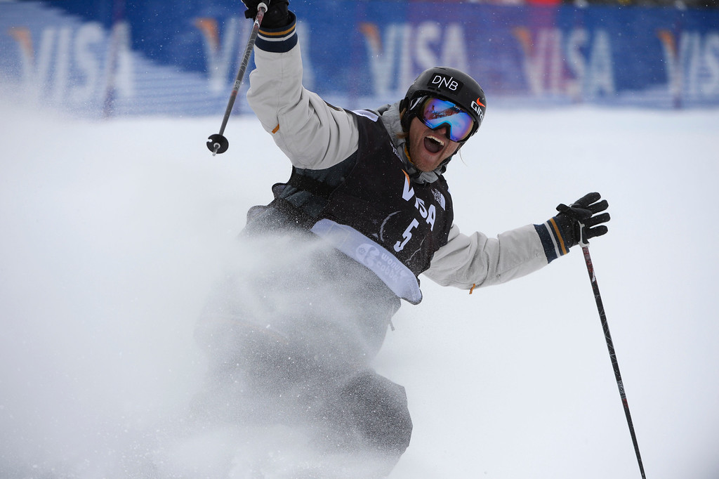 . COPPER MOUNTAIN, CO. - DECEMBER  21: Andreas Haatveit, NOR, celebrates his second run at the U.S. Grand Prix slope style finals at the Copper Mountain ski area Saturday afternoon, December 21, 2013. Haatveit won the competition.  (Photo By Andy Cross / The Denver Post)