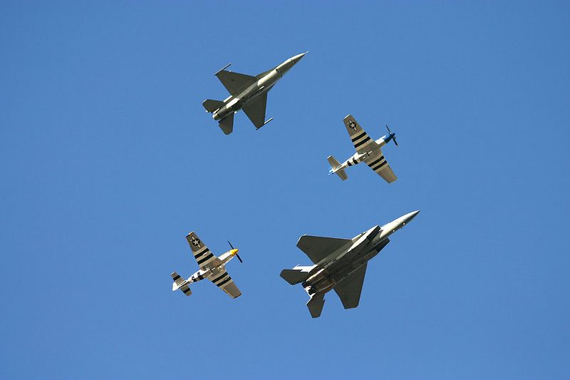 Heritage Flight: F-15 Eagle, F-16 Fighting Falcon, TF-51, P-51