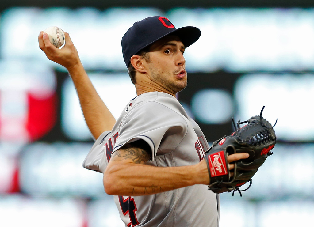 . Cleveland lndians pitcher Ryan Merritt throws against the Cleveland Indians during the first inning of the second game of a baseball doubleheader Thursday, Aug. 17, 2017, in Minneapolis. (AP Photo/Jim Mone)