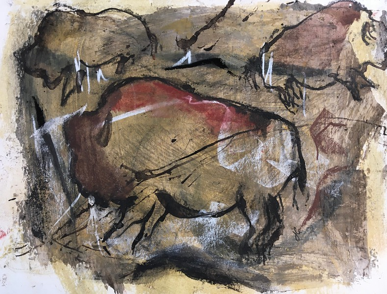 1/17 I had prepared this paper with pumice mixed in with gesso and some walnut oil, then gave it a light wash of yellow ochre. I used a stick dipped in walnut oil to outline the buffalo and Art Graf water soluble tailor blocks to provide the reds and browns to make it appear like a cave painting.