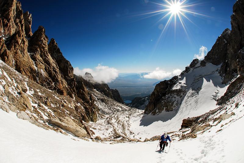 Calixte Leblanc climbing up the couloir towards Exum Ridge on Grand Teton, Wyoming, USA, 2 weeks in our trip.