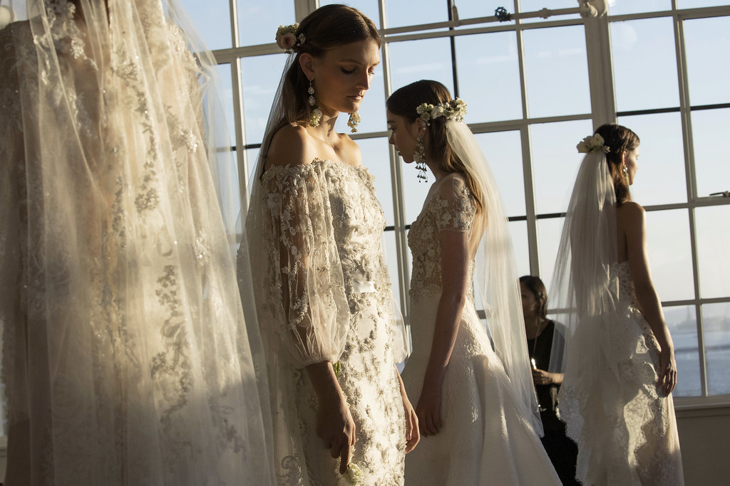 . In this Wednesday, Oct. 5, 2016 photo, the Marchesa bridal collection is modeled during bridal fashion week in New York.  (AP Photo/Mary Altaffer)