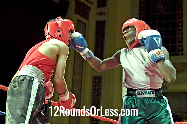 Bout 7 Tyshawn Denson, Blue Gloves, Akron BA, Akron -vs- Kuwardeep Manu, Red Gloves, King Of The Ring BC, Brampton Ontario, Canada, 106 Lbs, Jr King of the Championship
