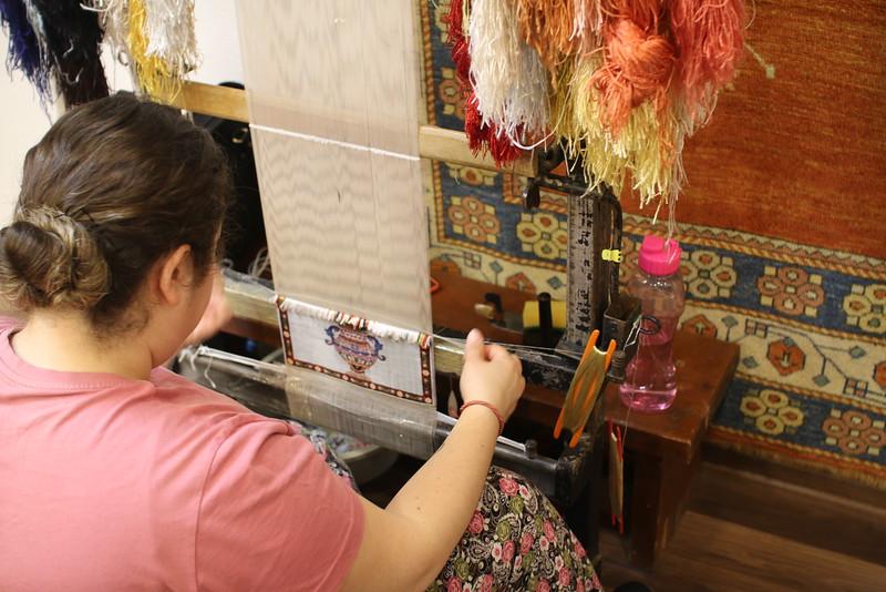 Rug making demonstration near Kusadasi