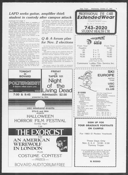 Daily Trojan, Vol. 92, No. 36, October 27, 1982