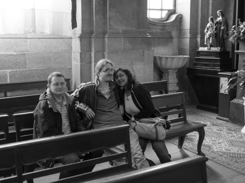 Becca, Olly and Chris inside the Church