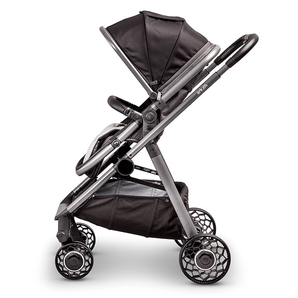 3 Ark Travel System Pushchair Mode World Facing Black.jpg