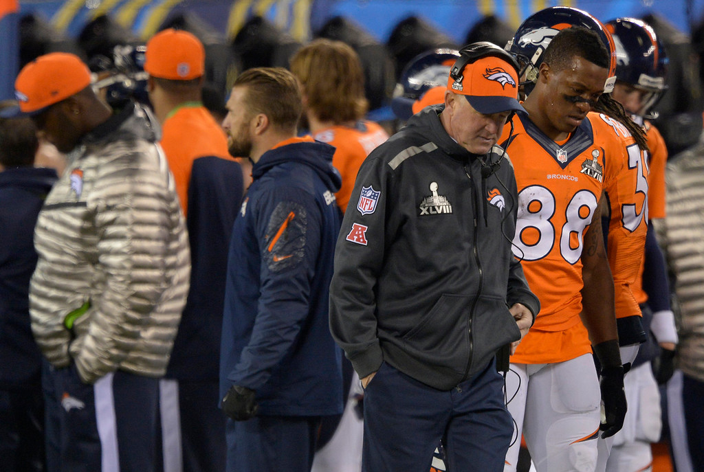 . Denver Broncos head coach John Fox and Denver Broncos wide receiver Demaryius Thomas (88) during the second quarter. The Denver Broncos vs the Seattle Seahawks in Super Bowl XLVIII at MetLife Stadium in East Rutherford, New Jersey Sunday, February 2, 2014. (Photo by John Leyba/The Denver Post)