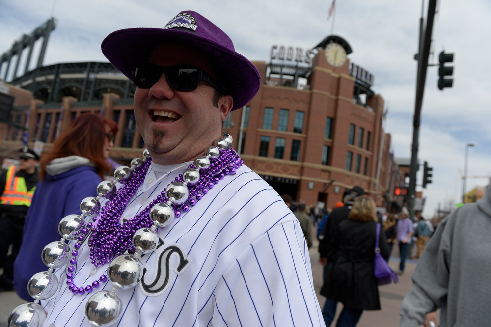""". Steve \""""Fan Man\"""" Damico of Broomfield, Colo. before the game. The Colorado Rockies hosted the Arizona Diamondbacks in the Rockies season home opener at Coors Field in Denver, Colorado Friday, April 4, 2014. (Photo by Craig F. Walker/The Denver Post)"""