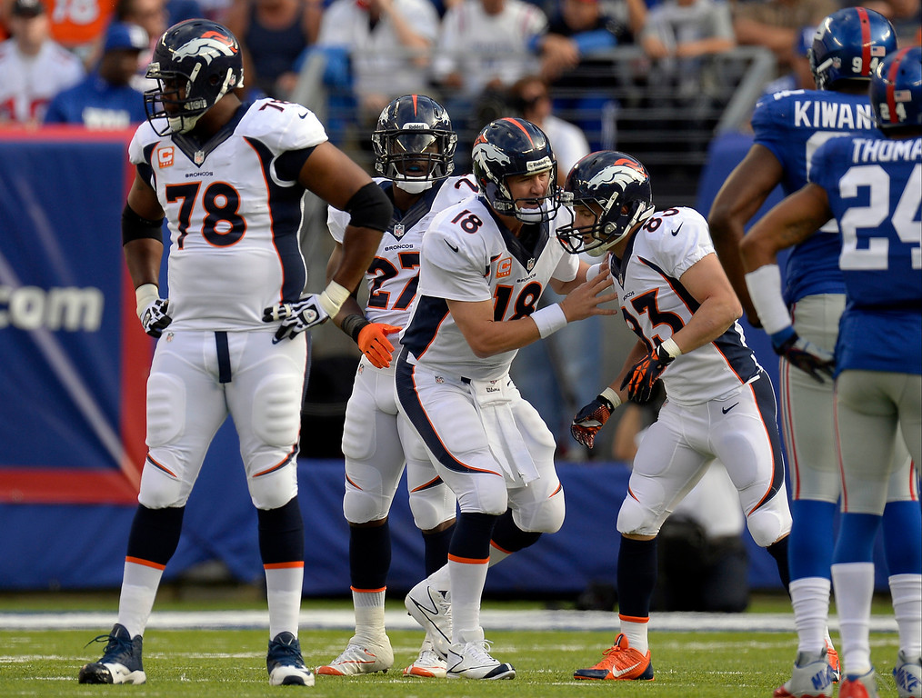. Broncos Quarterback Peyton Manning (18)  gives some instructions to wide receiver Wes Welker (83) of the Denver Broncos during the first quarter against the New York Giants September 15, 2013 MetLIFE Stadium. (Photo by John Leyba/The Denver Post)