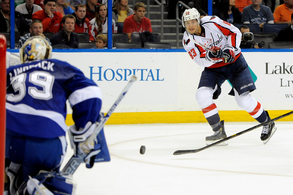 . Washington Capitals center Jay Beagle, right, takes a shot on Tampa Bay Lightning goalie Anders Lindback during the first period of an NHL hockey game Saturday, Jan. 19, 2013, in Tampa, Fla. (AP Photo/Brian Blanco)