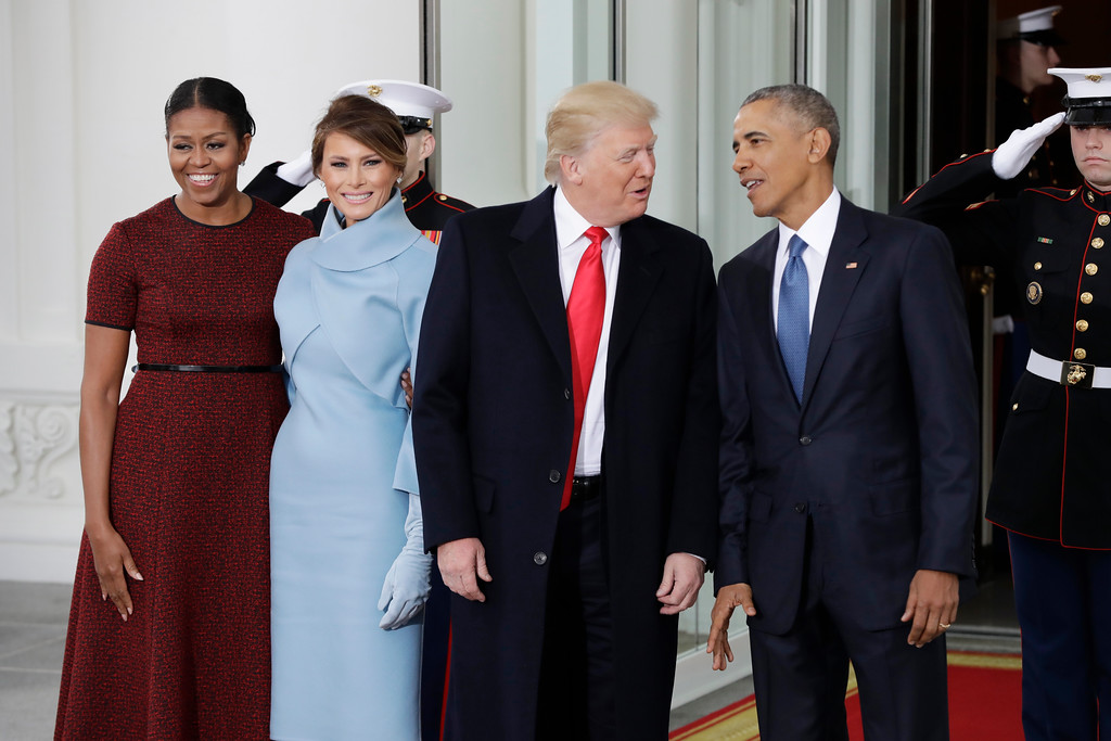 . President Barack Obama and first lady Michelle Obama pose with President-elect Donald Trump and his wife Melania at the White House in Washington, Friday, Jan. 20, 2017. (AP Photo/Evan Vucci)