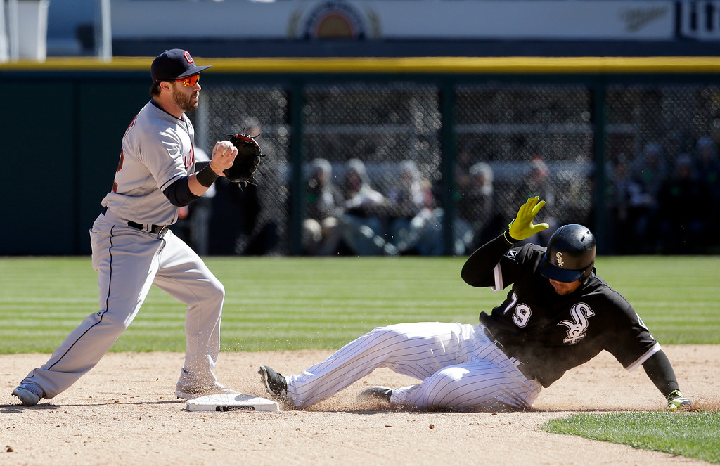 . Cleveland Indians second baseman Jason Kipnis, left, looks to first base after forcing out Chicago White Sox\'s Jose Abreu during the seventh inning of a baseball game Saturday, April 9, 2016, in Chicago. Todd Frazier was safe at first base. (AP Photo/Nam Y. Huh)