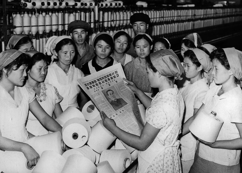 . In this November 1970 photo from North Korea\'s official Korean Central News Agency, distributed by Korea News Service, women from Pyongyang textile plant study the report of the fifth rally of Workers\' Party of (North) Korea by leader Kim Il Sung. (Korean Central News Agency/Korea News Service via AP Images)