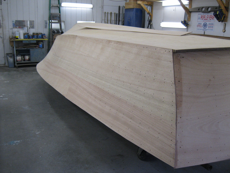 Rear starboard view of side sanded.
