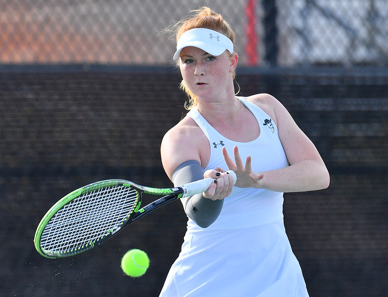 LAS VEGAS, NV - JANUARY 20:  Rebecca Keijzerwaard of the New Mexico State Aggies plays a forehand during her match against Pei-Hsuan (Patty) Kuo of the Weber State Wildcats at the Frank and Vicki Fertitta Tennis Complex in Las Vegas, Nevada. Kuo won the match 6-3, 7-6 (10-5),