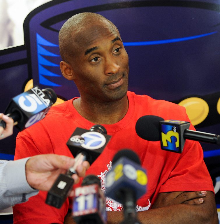 . Kobe Bryant answers questions during a press conference before welcoming campers to his Kobe Basketball Academy at UCSB, Wednesday, July 10, 2013. (Michael Owen Baker/L.A. Daily News)