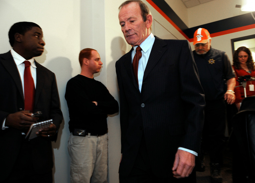 . Denver Broncos owner Pat Bowlen enters the team room to hold a press conference at Bronco\'s headquarters at Dove Valley in Centennial to further discuss the firing of head coach, Mike Shanahanin 2008. Kathryn Scott Osler, The Denver Post